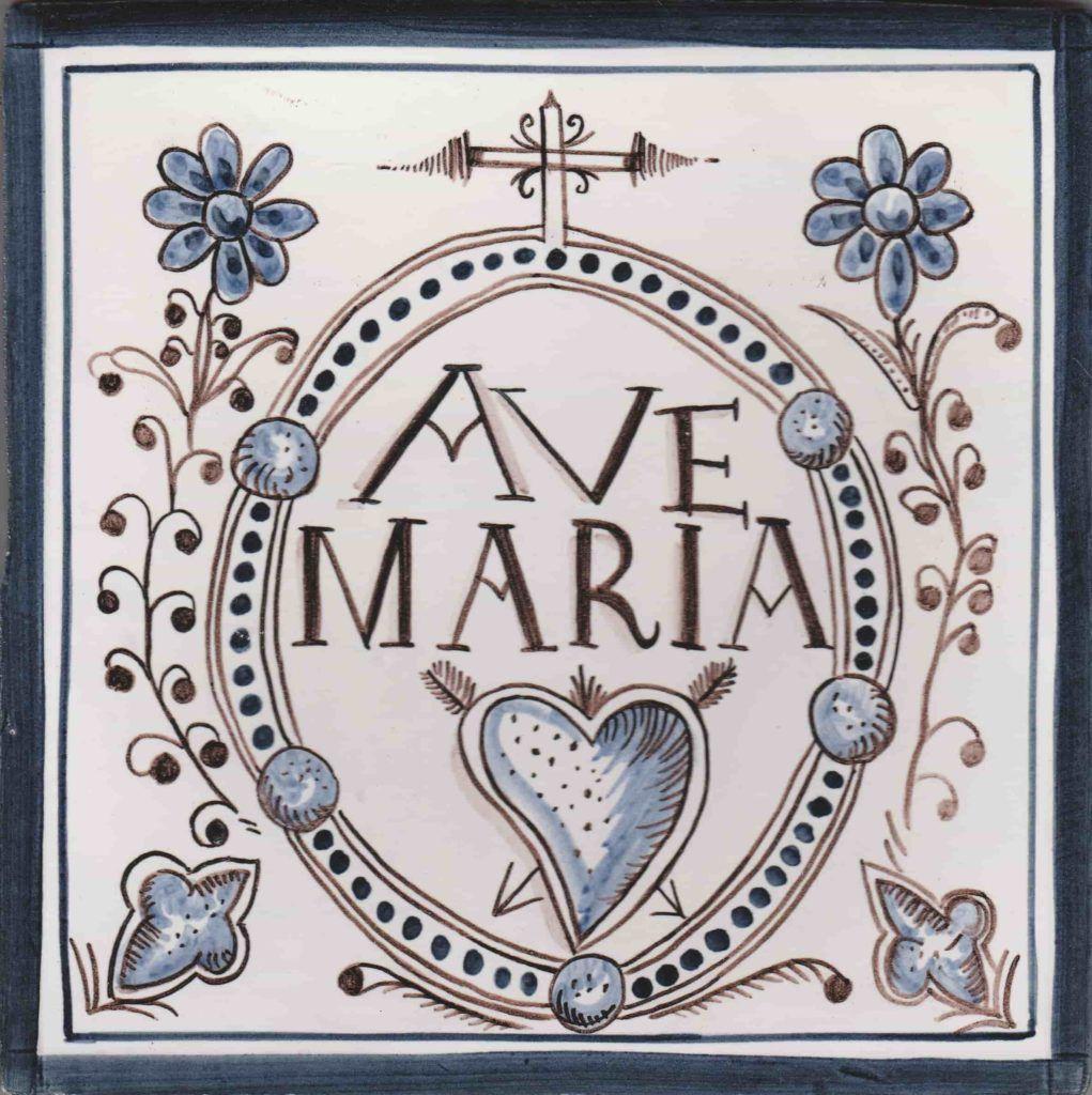 Azulejos artesanos pintados a mano en el estilo sevillano - Artesur - Azulejo bendición Ave María-75567