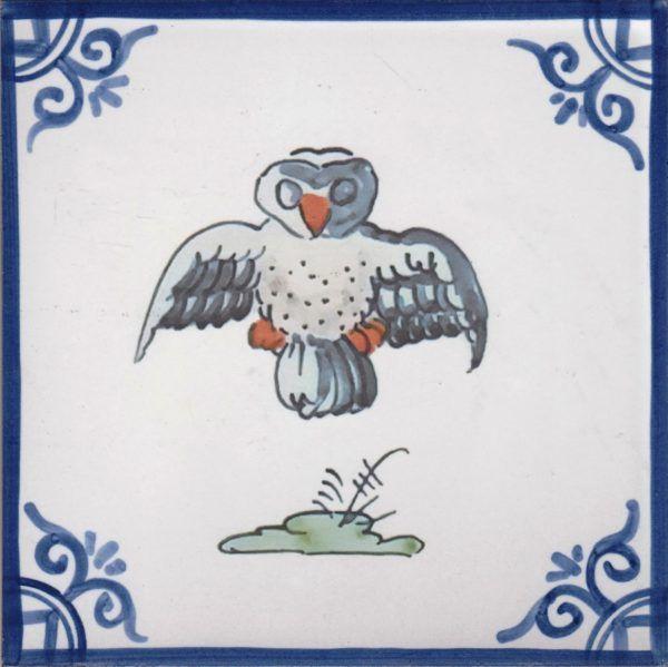 Azulejos artesanos pintados a mano en el estilo sevillano - Artesur - Pájaros- Búho - 75716-SM