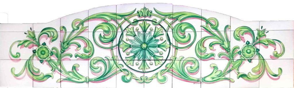 Azulejos artesanos pintados a mano en el estilo sevillano - Artesur- Ornamento bajo de balcón - 75582
