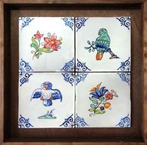 Azulejos artesanos pintados a mano en el estilo sevillano - Artesur- composición estilo antiguo-CA-201-75598