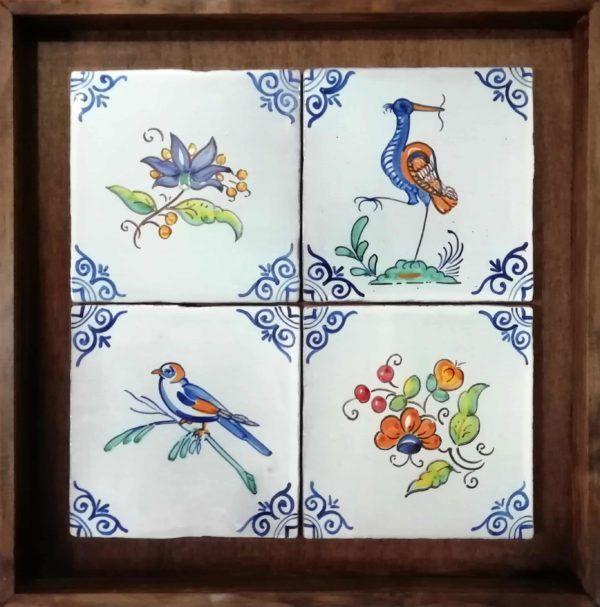 Azulejos artesanos pintados a mano en el estilo sevillano - Artesur- composición estilo antiguo-CA-202-75603
