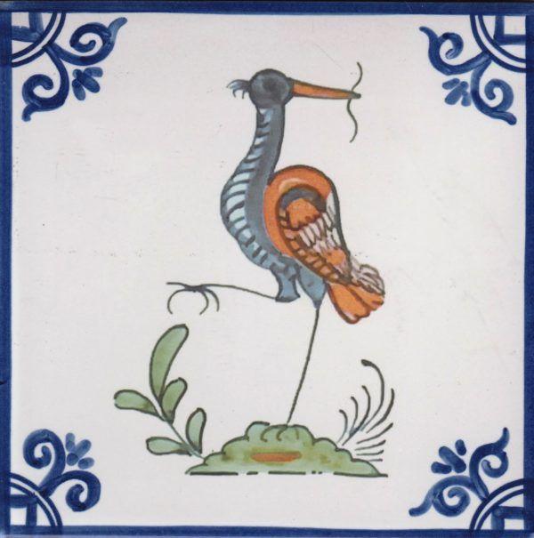 Azulejos artesanos pintados a mano en el estilo sevillano - Artesur - Pájaros- Cigüeña-75719-SM