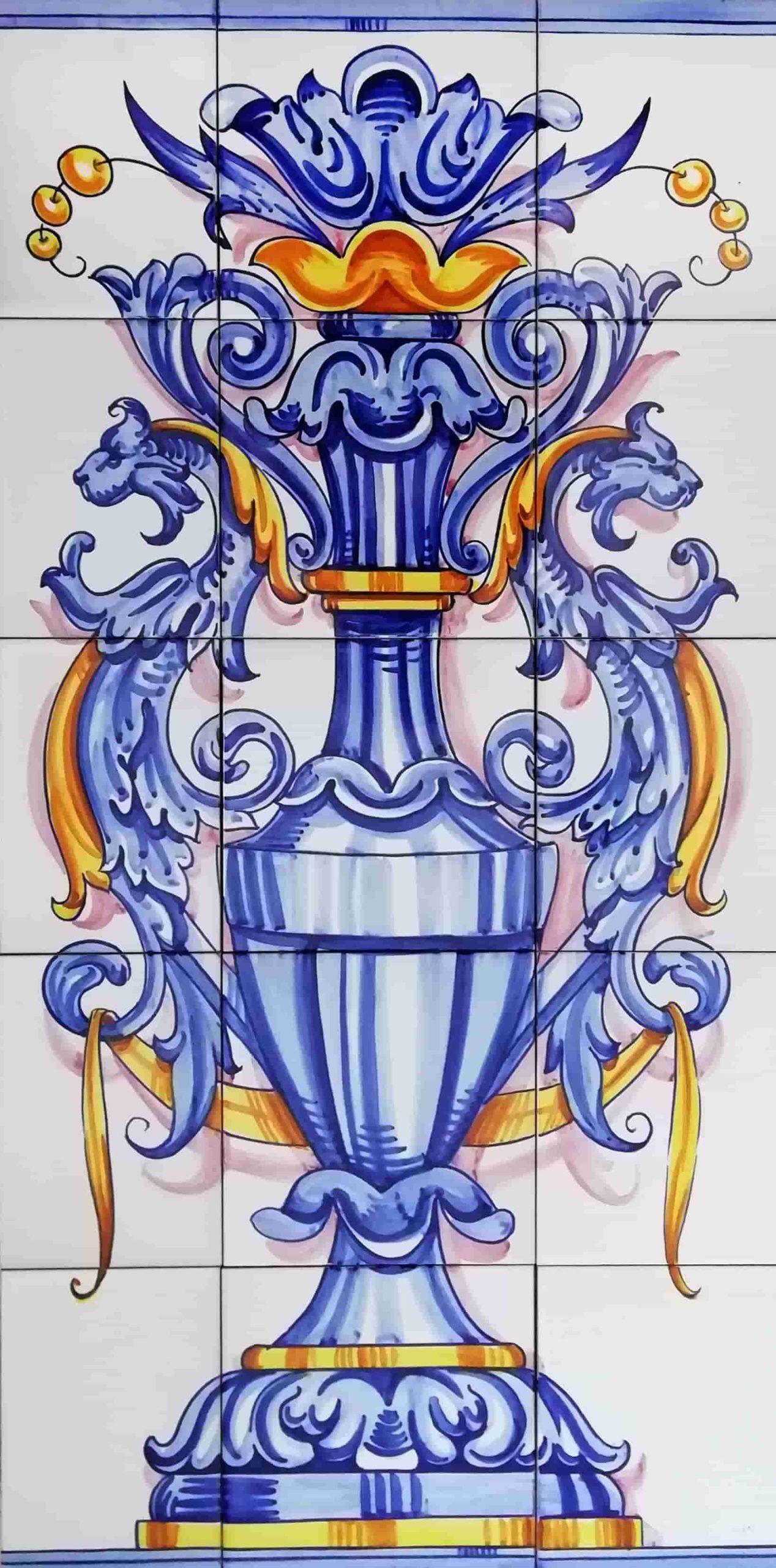 Azulejos artesanos pintados a mano en el estilo sevillano - Artesur- Ornamento vertical 75x45cm - 75576