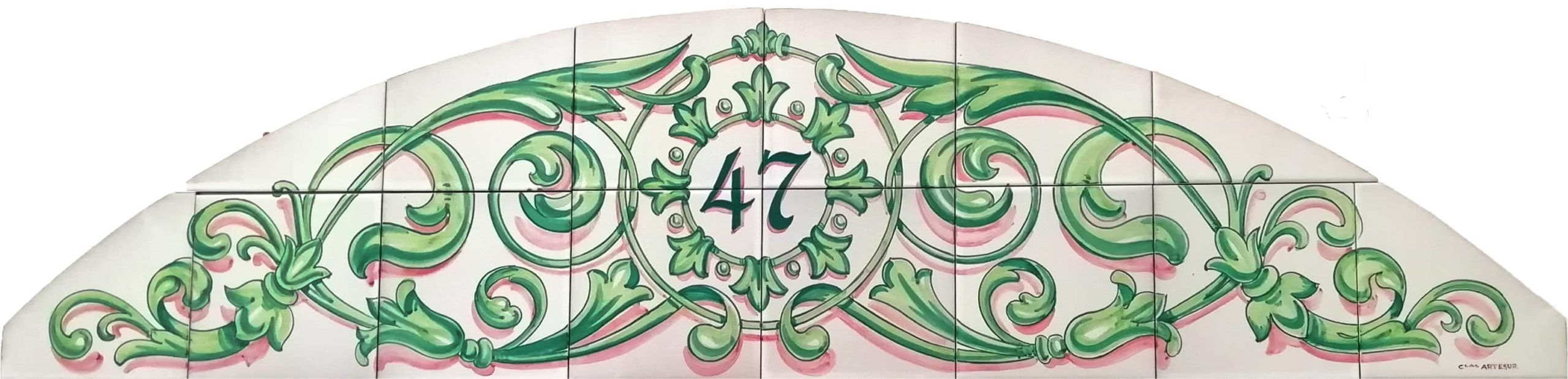 Azulejos artesanos pintados a mano en el estilo sevillano - Artesur- Ornamento dintel para puerta-75586