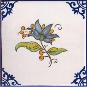 Azulejos artesanos pintados a mano en el estilo sevillano - Artesur - Flores- Ramo azul-75743-SM