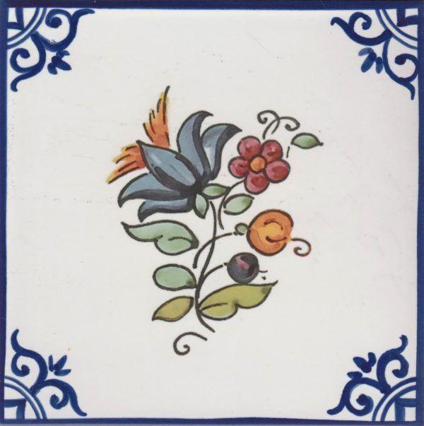 Azulejos artesanos pintados a mano en el estilo sevillano - Artesur - Flores- Ramo azul-75749-SM