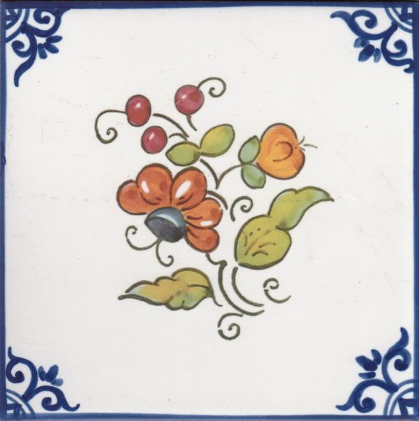 Azulejos artesanos pintados a mano en el estilo sevillano - Artesur - Flores- Ramo naranja-75746-SM