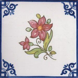 Azulejos artesanos pintados a mano en el estilo sevillano - Artesur - Flores- Roja-75740-SM