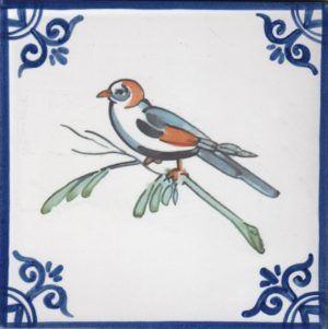 Azulejos artesanos pintados a mano en el estilo sevillano - Artesur - Pájaros- Loro-75725-SM