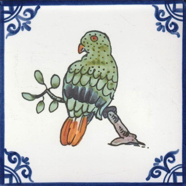 Azulejos artesanos pintados a mano en el estilo sevillano - Artesur - Pájaros- Loro-75722-SM
