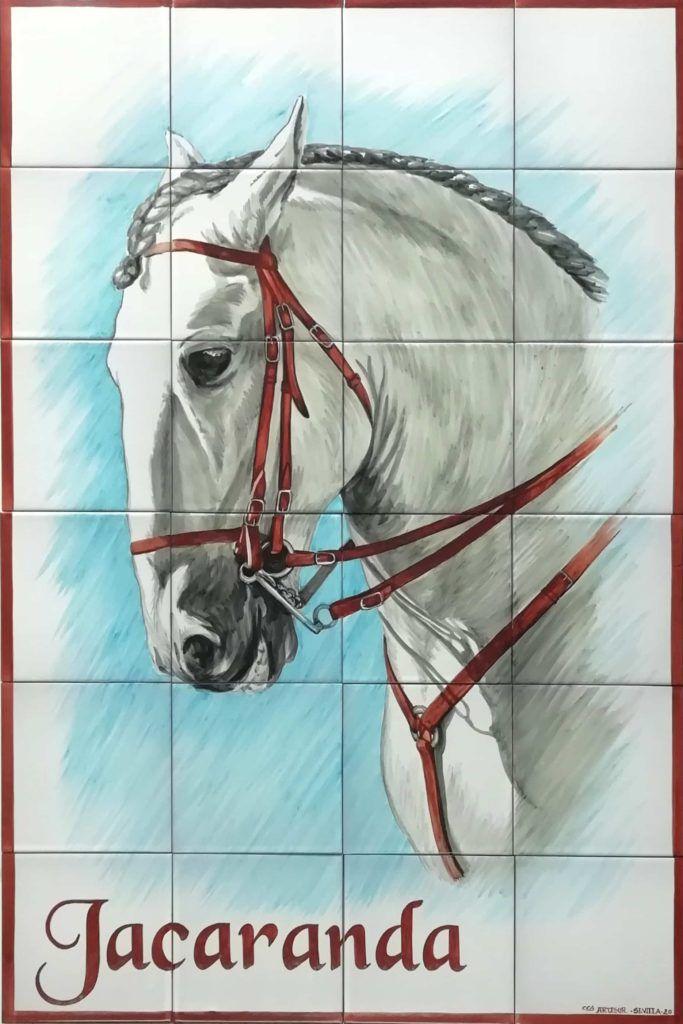 Azulejos artesanos pintados a mano en el estilo sevillano - Artesur - Retrato de caballo 75775
