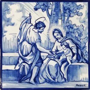 Azulejos artesanos pintados a mano en el estilo sevillano - Artesur - Sagrada Familia 71498