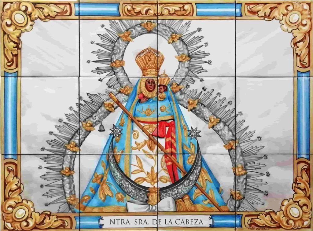 Azulejos artesanos pintados a mano en el estilo sevillano - Artesur- Virgen de la Cabeza