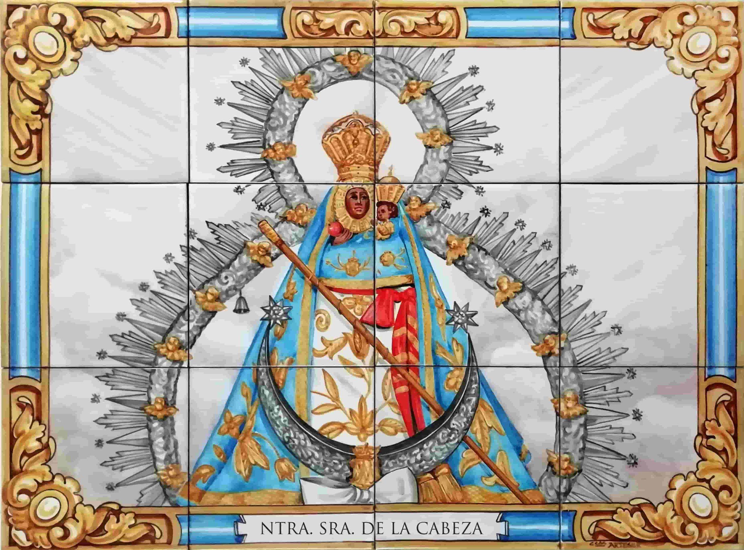 Azulejos artesanos pintados a mano en el estilo sevillano - Artesur- Virgen de la Cabeza-75594