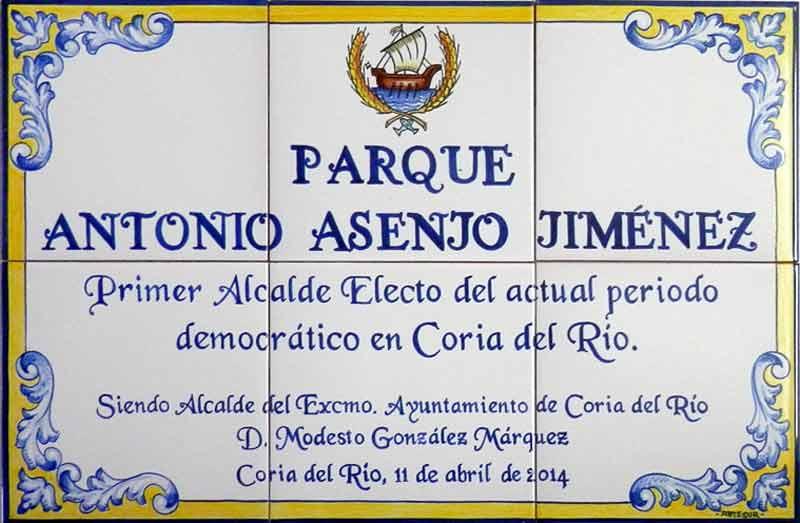 Azulejos sevillanos artesanos pintados a mano - Cerámicas Artesur - Parque en Coria del Río
