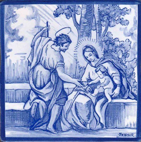 Azulejos artesanos pintados a mano en el estilo sevillano - Artesur - Sagrada Familia-75743-SM
