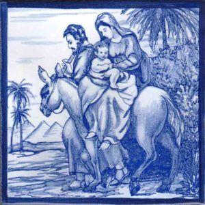 Azulejos artesanos pintados a mano en el estilo sevillano - Artesur - Huida a Egipto-SM