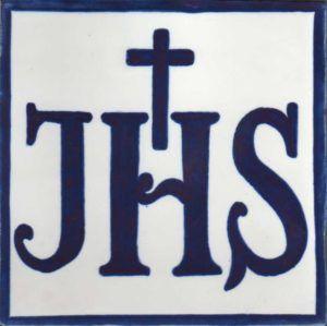 Azulejo pintado a mano - Cerámicas Artesur- Anagrama de Jesús-azul cobalto