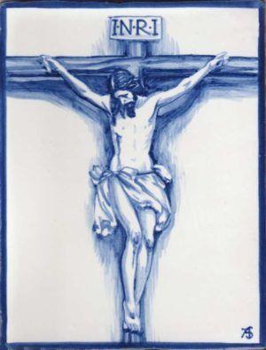 Azulejos artesanos pintados a mano en el estilo sevillano - Cerámicas - Artesur - azulejo con crucificado