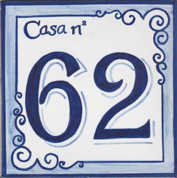 Azulejos sevillanos artesanos pintados a mano - Cerámicas Artesur - Número casa Ref-011-A+miniatura