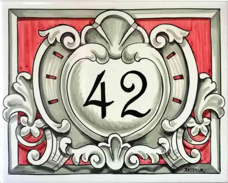 Azulejos sevillanos artesanos pintados a mano - Cerámicas Artesur - Número casa Ref-037-R