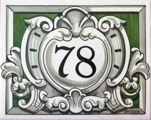 Azulejos sevillanos artesanos pintados a mano - Cerámicas Artesur - Número casa Ref-037-V+miniatura