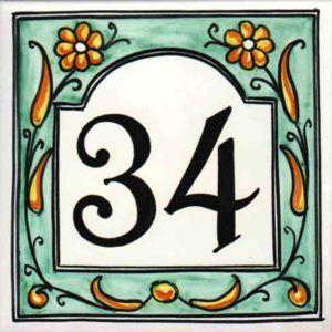 Azulejos artesanos pintados a mano en el estilo sevillano - Cerámicas Artesur - Azulejos - Ref-044-V