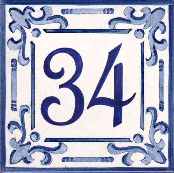 Azulejos sevillanos artesanos pintados a mano - Cerámicas Artesur - Número casa Ref-047-A + miniatura