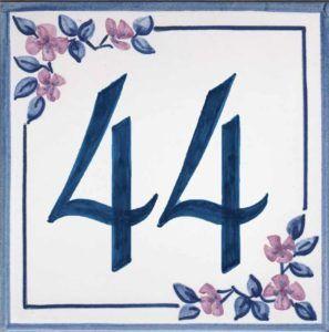 Azulejos sevillanos artesanos pintados a mano - Cerámicas Artesur - Número casa Ref-048-A + miniatura