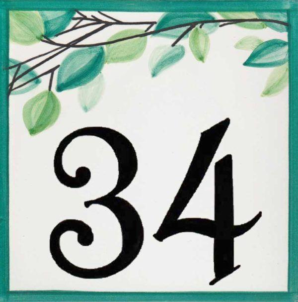 Azulejos sevillanos artesanos pintados a mano - Cerámicas Artesur - Número casa Ref-051-V-76353