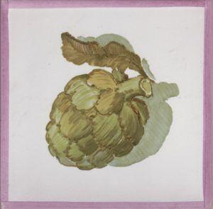 Azulejo económico de impresión calcográfica - azulejo con frutas y verduras - Cerámicas Artesur - Alcachofa