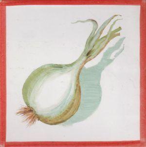 Azulejo económico de impresión calcográfica - azulejo con frutas y verduras - Cerámicas Artesur - Cebolla