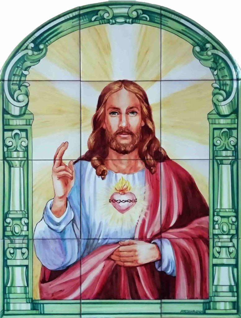 altAzulejos artesanos pintados a mano en el estilo sevillano - Artesur- Corazón de Jesús 80x60