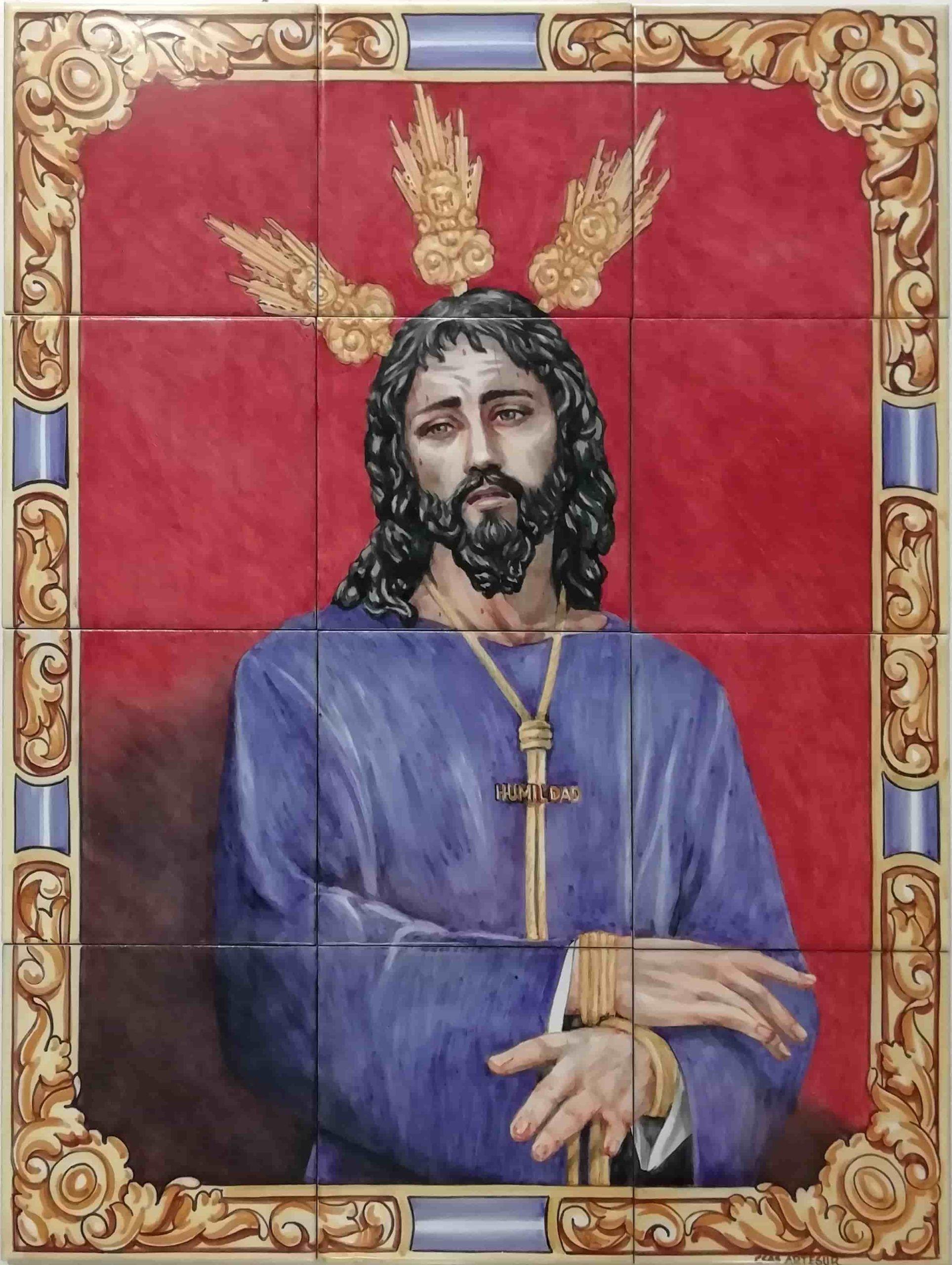 Azulejos artesanos pintados a mano en el estilo sevillano - Jesús de la Humildad-75573