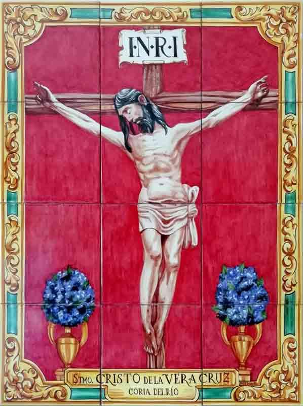 Azulejos sevillanos artesanos pintados a mano - Cerámicas Artesur - Cristo de la Vera Cruz