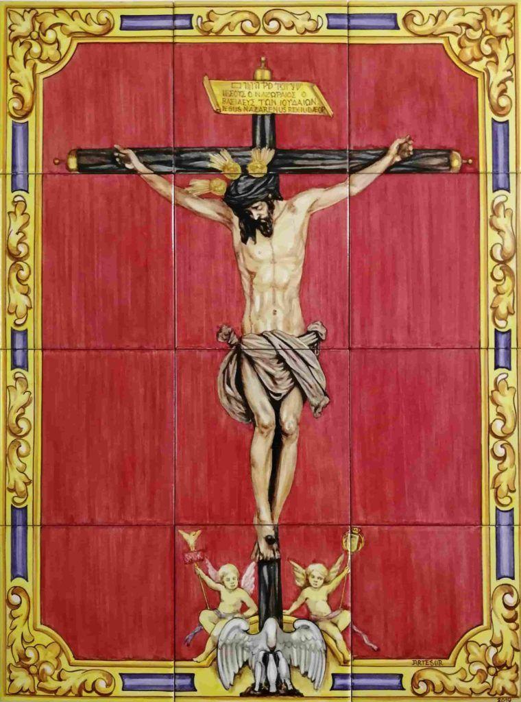 Azulejos artesanos pintados a mano en el estilo sevillano - Artesur - Cristo del amor
