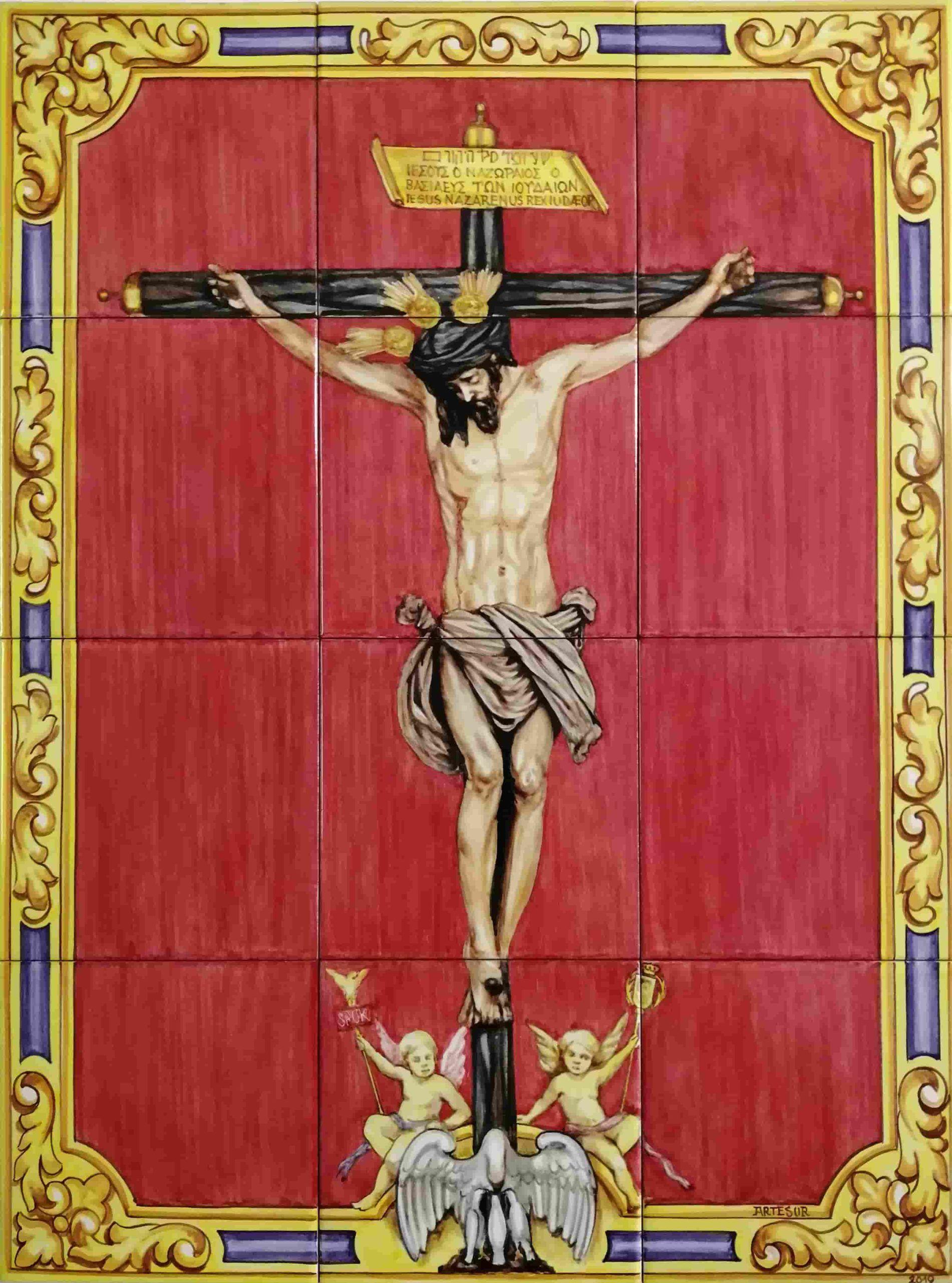Azulejos artesanos pintados a mano en el estilo sevillano - Artesur - Cristo del amor-755708