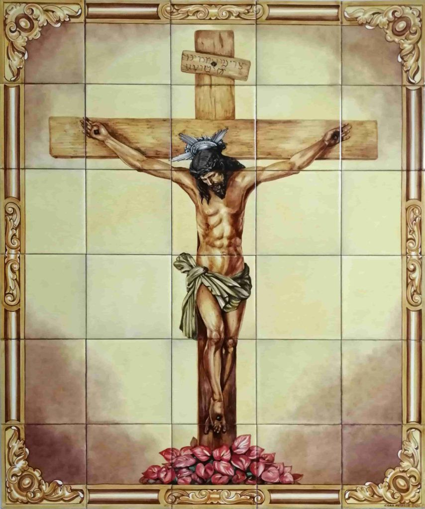 Azulejos sevillanos artesanos pintados a mano - Cerámicas Artesur - Cristo del Perdón- Cieza- Murcia
