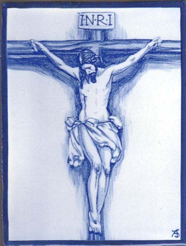 Cristo en Azul - Azulejo Impresión calcográfica - Cerámicas Artesur