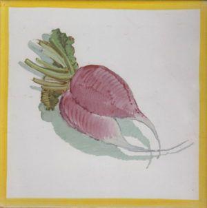 Azulejo económico de impresión calcográfica - azulejo con frutas y verduras - Cerámicas Artesur - Rábano redondo