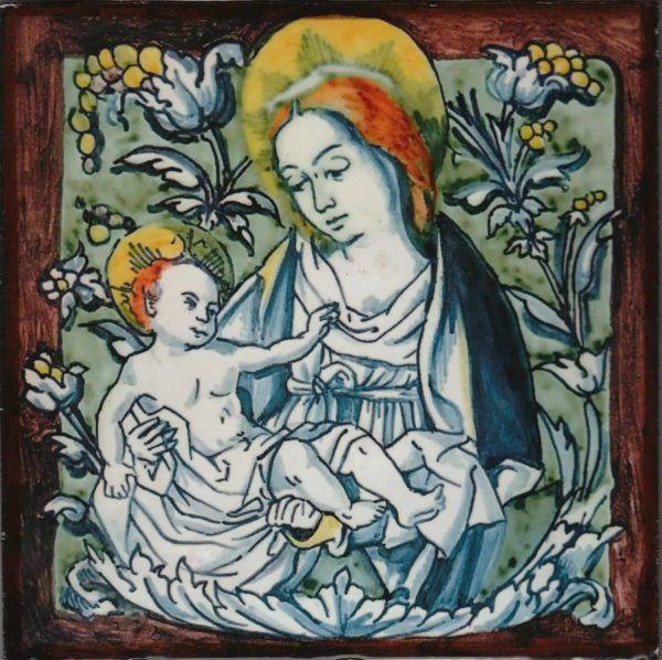 Replica de azulejo antiguo con Virgen - Azulejo económico calcográfico - Cerámicas Artesur