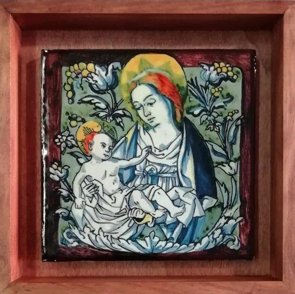 Replica de azulejo antiguo con Virgen - Azulejo económico calcográfico - Con marco de caja - Cerámicas Artesur