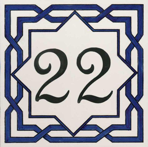 REF-038-BA- Azulejo numero casa- Pintado a mano - Cerámicas Artesur + Miniatura