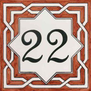 REF-038-M - Azulejo numero casa- Pintado a mano - Cerámicas Artesur + Miniatura