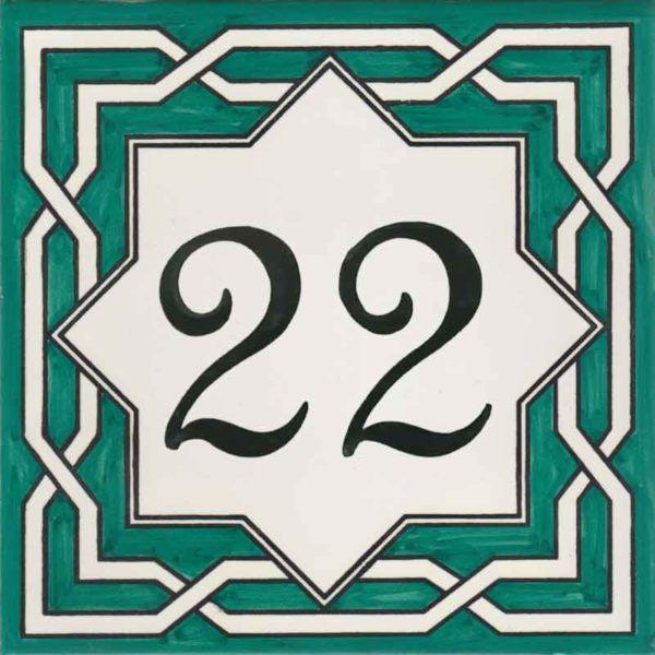 REF-038-V- Azulejo numero casa- Pintado a mano - Cerámicas Artesur + Miniatura