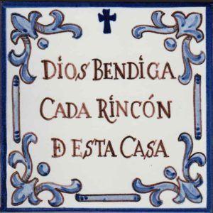Azulejo leyenda Dios bendiga-estilo antiguo- Cerámicas Artesur-71022