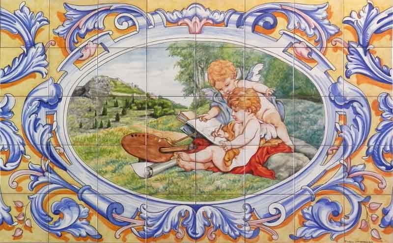 Azulejos sevillanos artesanos pintados a mano - Cerámicas Artesur - Zócalo con ángeles
