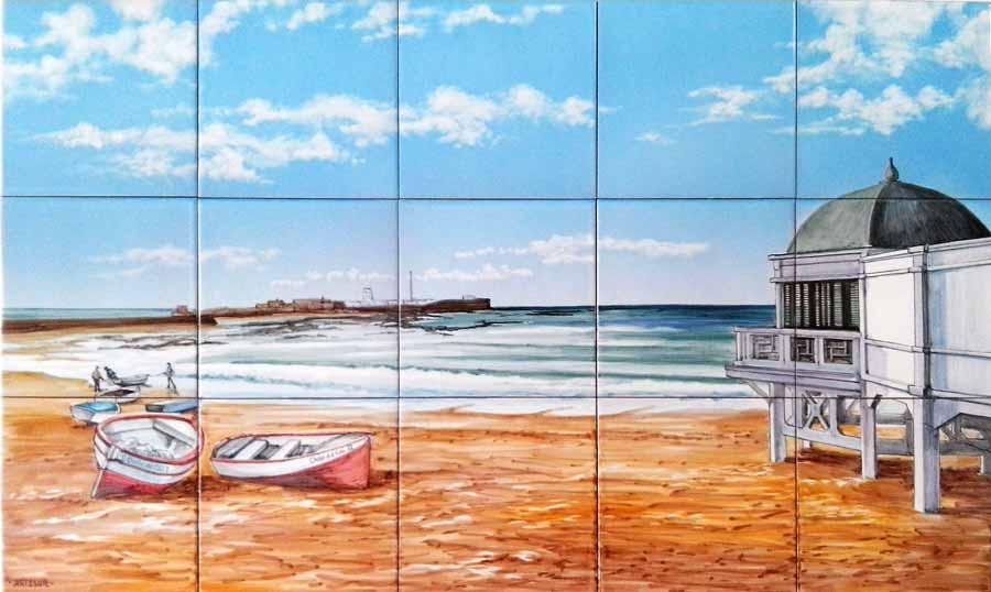 Azulejos sevillanos artesanos pintados a mano - Cerámicas Artesur - Azulejo con paisaje