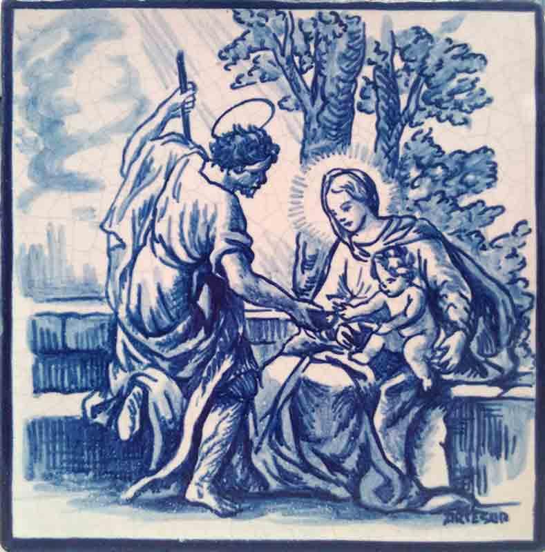 Azulejos sevillanos artesanos pintados a mano - Cerámicas Artesur - Sagrada familia