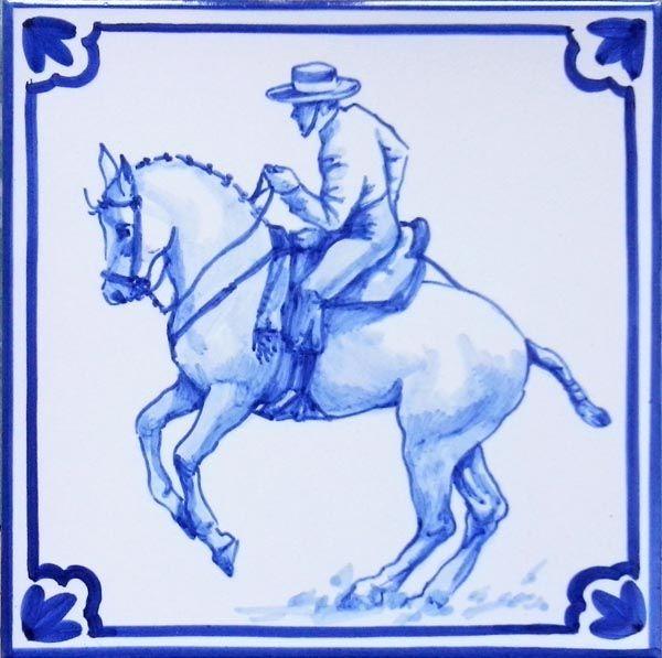Jinete 77016 - Doma Andaluza - Azulejo pintado a mano- Cerámicas Artesur